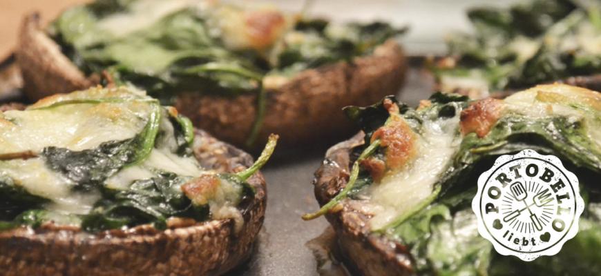 Gefüllter Portobello mit Spinat und Taleggio-Käse