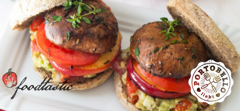 Ein Portobello Herbst Burger mit Avocado und Nektarine. Von dem Blog foodtastic